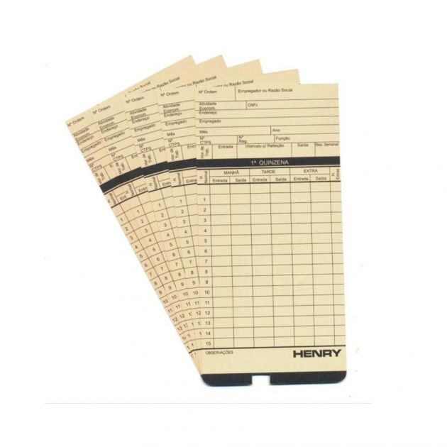 Kit Cartão Ponto Relógio Cartográfico - 100 Unidades - Amarelo